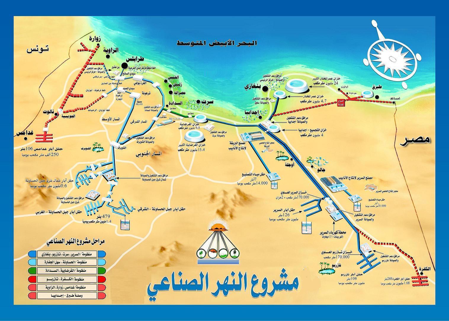 بالخرائط النهر العظيم في ليبيا يغير شكل الحياة خطوات في الجغرافيا